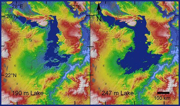 Na topografsku kartu prikazan u Red Hill, plava - dubina. Na desnoj slici se vidi da je sliv jezera pala. To je dovelo do smanjenja protoka vode iz Nila, a zatim na isušivanje jezera. (Ilustracija T.A. Maxwell i dr. / Geologija.)