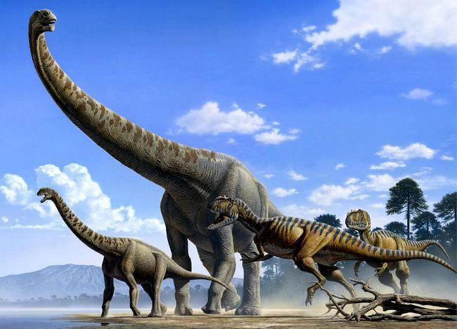 Argentinosaurus okružen dinosaura mesoždera.