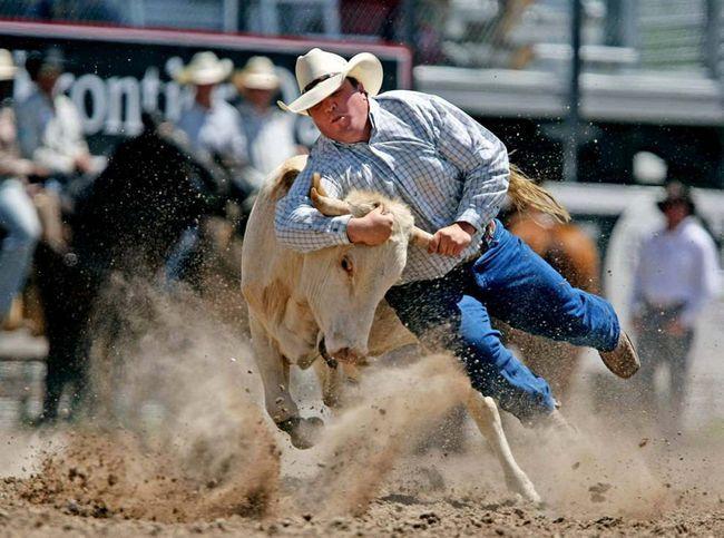 Strauss Milan mimo zemi během rodeo «Cheyenne Frontier Days» ve středu 22. července 2009 v Frontier Park Cheyenne, Wyoming.