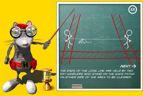 Схема работы крысы-сапёра. Красным заштрихованы дорожки безопасности, расчищенные заранее