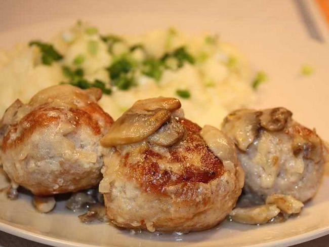 chiftele de pui cu ciuperci, coapte în cuptor