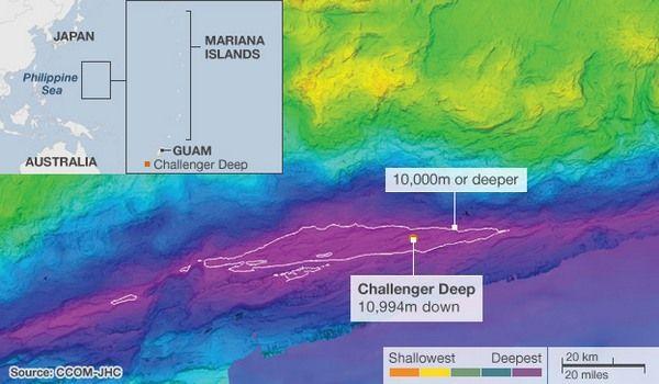 Nova kartica Mariana Trench. Dubina naznačeno od najmanjeg (narančaste) do najvećeg (magenta). Bijelo označena područja s dubinom većom od 10 km. (Slika CCOM-JHC.)