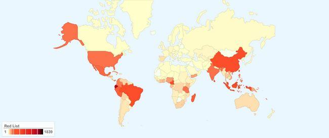 Broj ugroženih biljnih vrsta po zemljama