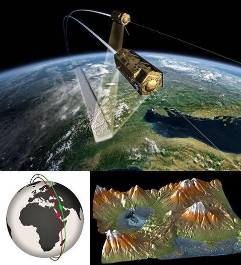 Tokom misije, udaljenost i dalje smanjuje - do 200 metara. Ovaj režim let dva gotovo identična satelita će im dati stereoskopski vid. Zajednički radar ne samo da može pucati u obimu Zemljine topografije, ali za praćenje morskih struja, i obavlja druge mjerenja (DLR ilustracija).