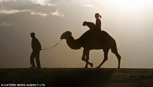 Neobvyklé pes šel v Himalájích, jízda na velbloudu s hosteskou