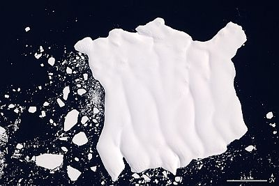 Iceberg Glacier Mertz, kao što se vidi iz svemira (NASA sliku).