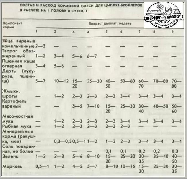 состав кормовой смеси для бройлеров