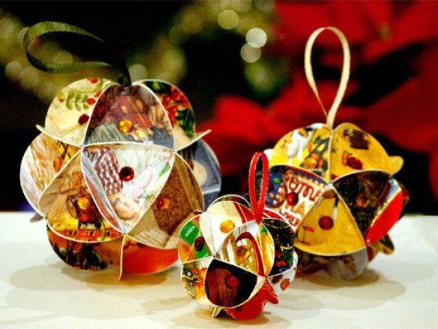 Бумажные шары-игрушки на Новый год 2017 своими руками