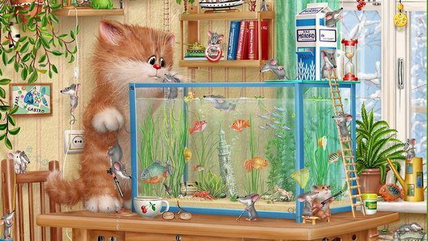 Развлечения для кошек: видео аквариум