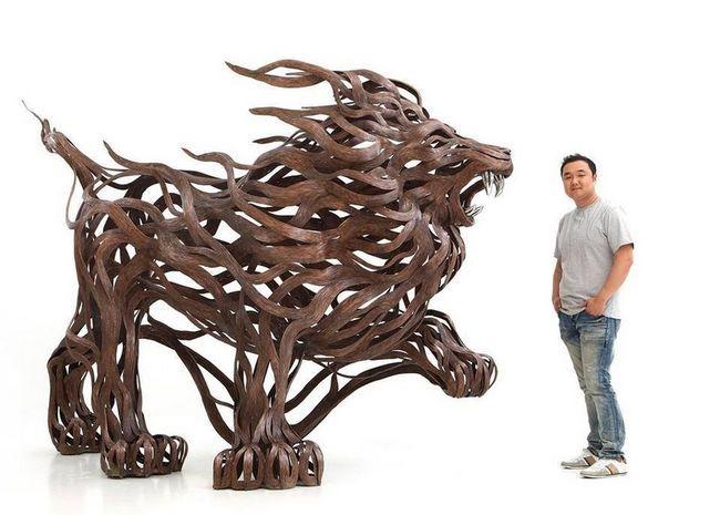Скульптуры животных из металла скульптора сен хун кан