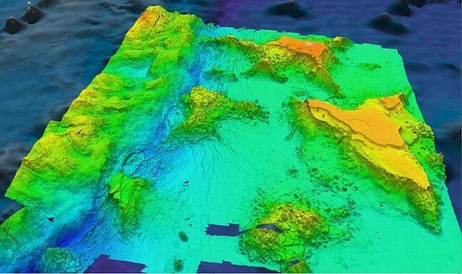 Batimetrijske izgledi guyots i grebena blizu Mariana Trench u petostruko povećanje u vertikalnom.