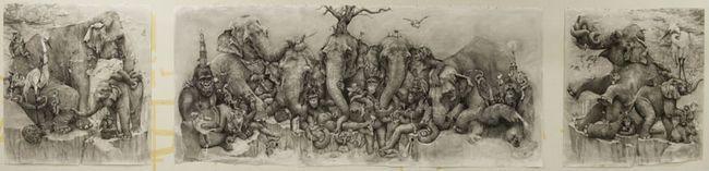 Triptih Slonovi umjetnik Adon Kare