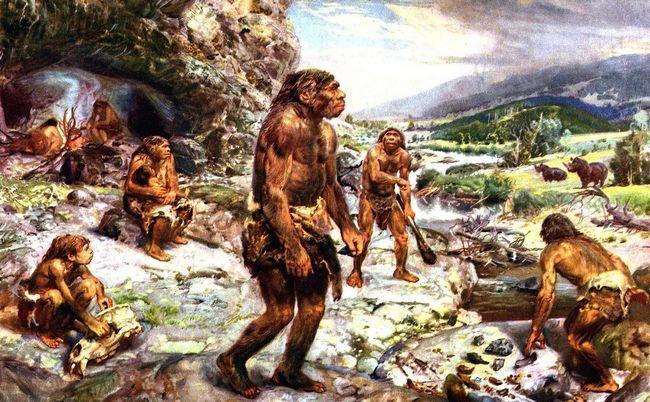před padesáti tisíci lety, v blízkosti jeskyně žijící neandrtálci.