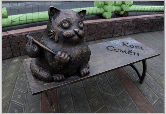 В мурманске поставили памятник легендарному коту семену
