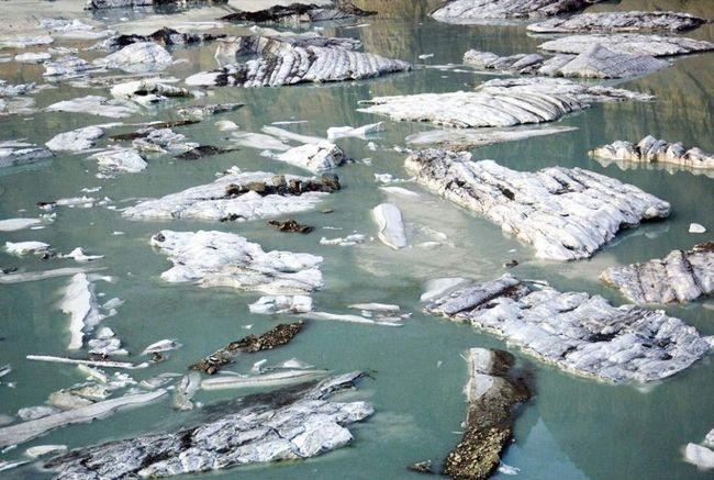 Ledene sante plutaju na rastopljenom jezeru snijeg vode u podnožju glečera u Glacier National Park Grinnell (Glacier), Montana. (James Balog)