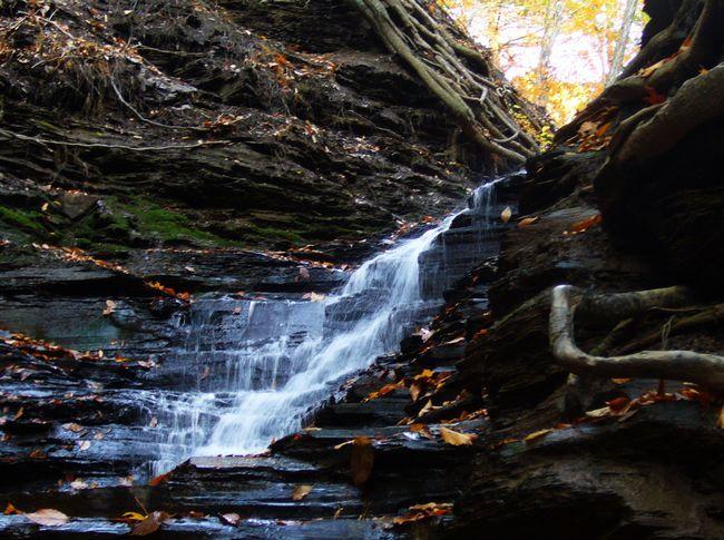 Vodopad `Eternal ogon` u New Yorku Chestnut Ridge Park