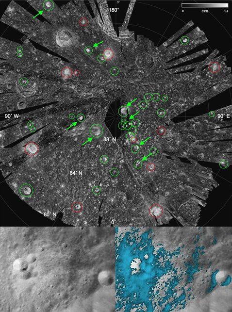 Различные приборы на борту аппарата Chandrayaan 1 выявили как россыпь богатых водяным льдом кратеров на северном полюсе Луны (вверху они обозначены зелёными кружками), так и богатые водой минералы вокруг (нижний кадр, голубые участки) (фотографии NASA, ISRO).